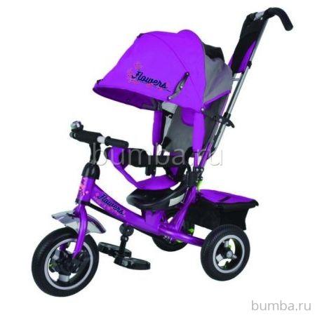 """Трехколесный велосипед Trike Flower с надувными колесами 10"""" и 8"""" (фиолетовый)"""