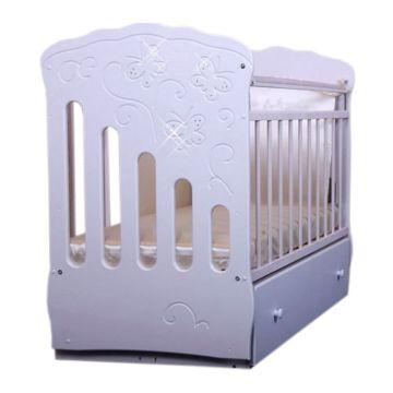 Кроватка детская Островок Уюта Бабочка (поперечный маятник) (белый)