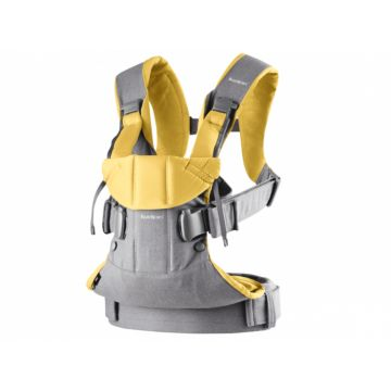Рюкзак-кенгуру BabyBjorn One Cotton New Baby Power (grey/yellow)