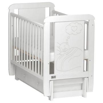 Кроватка детская Kitelli Amore (продольный маятник с ящиком) (Белый)