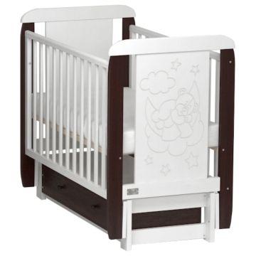 Кроватка Kitelli Orsetto (продольный маятник с ящиком) (Венге/Белый)