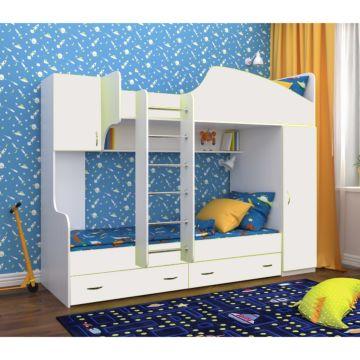 Кровать двухъярусная Ярофф Юниор-2 (белое дерево/белое дерево)