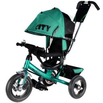 """Трехколесный велосипед City с надувными колесами 12"""" и 10"""" (черно-зеленый)"""