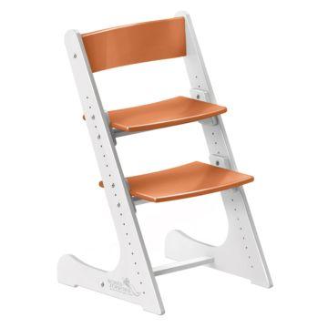 Растущий стул Конёк Горбунёк с лакокрасочным покрытием двухцветный (белый/оранжевый)