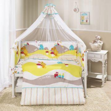 Комплект постельного белья Perina Кроха Весёлый кролик (4 предмета, хлопок/сатин) (Белый)