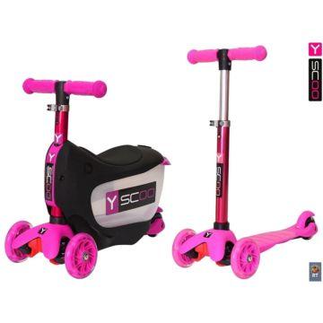 Самокат Y-Scoo Mini Jump&Go 3 в 1 со светящимися колесами (pink)