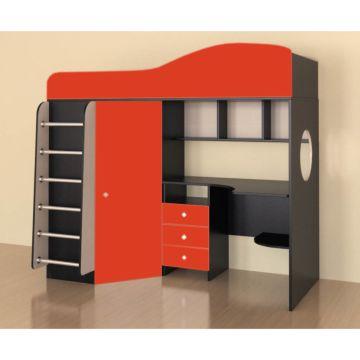 Кровать-чердак Ярофф Кадет 1 с металлической лестницей (бодего темный/красный)