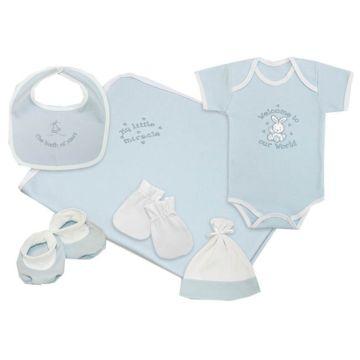Комплект одежды для малыша Little People однотонный 6 пр. (голубой)