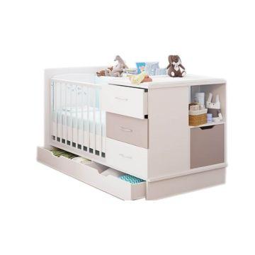 Кроватка-трансформер Polini Classic с комодом (белый снег - макиато)