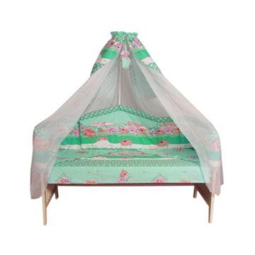 Комплект постельного белья Луняшки Теремок 150х110см (7 предметов, хлопок) (зеленый)