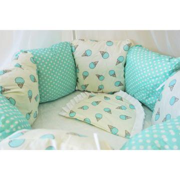 Комплект постельного белья Sleep and Smile 2 (11 предметов, хлопок) (blue ice-cream)