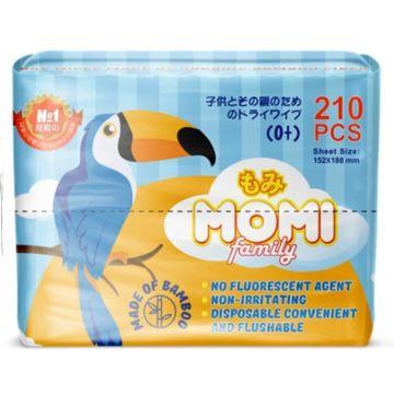 Сухие салфетки Momi Family 210 шт.