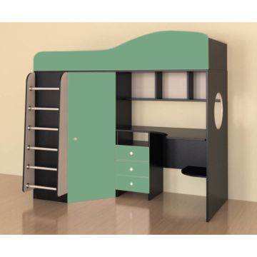 Кровать-чердак Ярофф Кадет 1 с металлической лестницей (венге темный/зеленый)