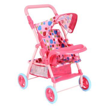 Коляска для куклы Игруша 69018 (Розовый/кружочки)