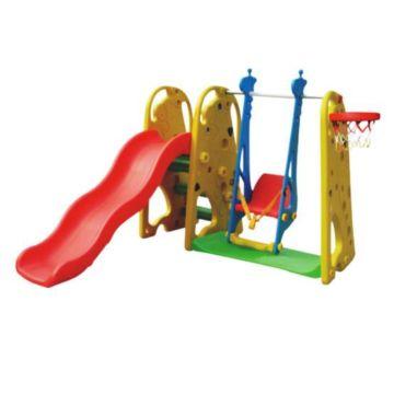 Горка детская QiaoQiao Toys Жираф с баскетбольным кольцом и качелями