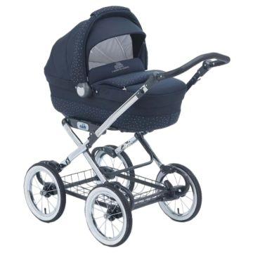 Коляска-люлька для новорождённых CAM Linea Elegant (тёмно-синий/экокожа)