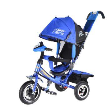 """Трехколесный велосипед Trike Power Race с надувными колесами 10"""" и 8"""" с фарой (синий)"""