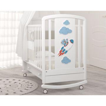 Кроватка детская Angela Bella Жаклин Мишка на ракете (качалка-колесо) (белый)