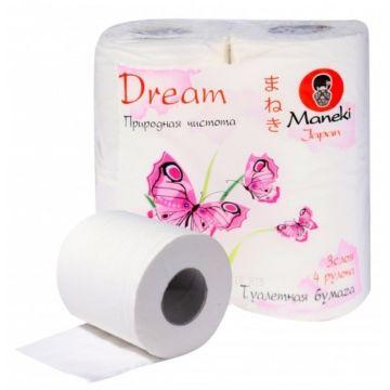 Туалетная бумага Maneki Dream с тиснением (4 рулона)