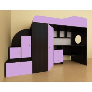 Кровать-чердак Ярофф Кадет 1 (венге темный/ирис)