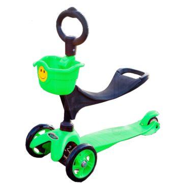 Самокат Smiley 3 в 1 с о-рулем и корзиной (зеленый)