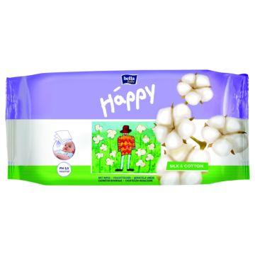 Влажные салфетки для детей Bella Baby Happy Шёлк и Хлопок 64 шт