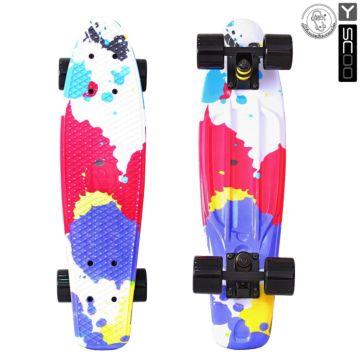 """Мини-круизер Y-Scoo Fish Skateboard Print 22"""" с сумкой Splatter"""