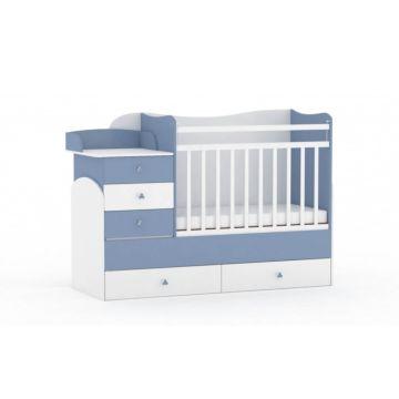 Кровать-трансформер Фея 1400 (Белый-синий)