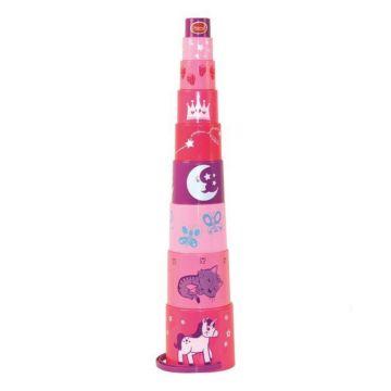 Ведёрко-пирамидка Gowi 9 предметов (Розовый)