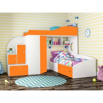 Кровать двухъярусная Ярофф Кадет 2 (белое дерево/оранжевый)