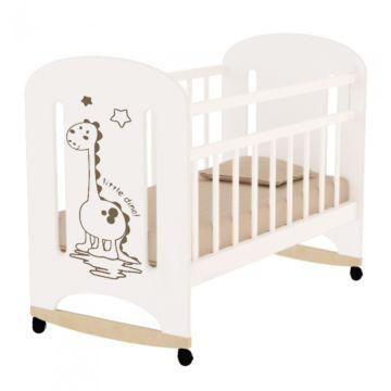Кроватка детская ВДК Dino (качалка-колесо) (белый)