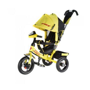 """Трехколесный велосипед Trike Power New c надувными колесами 12"""" и 10"""" с фарой (желтый)"""