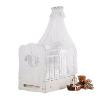 Кроватка детская Островок Уюта Птенчики (поперечный маятник) (белый)