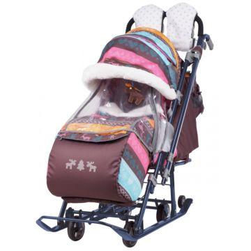 Санки-коляска Ника Детям 7-3 (скандинавский розовый)