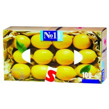 Платочки бумажные Bella №1 с запахом лимона 100 шт