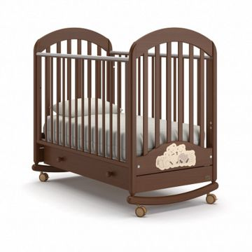 Кроватка детская Nuovita Grano Swing (качалка-колесо) (темный орех)