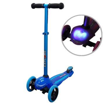 Самокат Explore Tris со светящейся платформой (голубой)