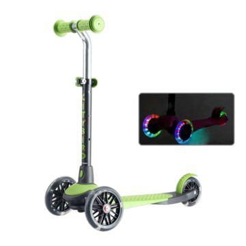 Самокат TechTeam City Bird 2018 со светящимися колесами (черно-зеленый)