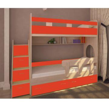 Кровать двухъярусная Ярофф Юниор-1 (вишня оксфорд/красный)