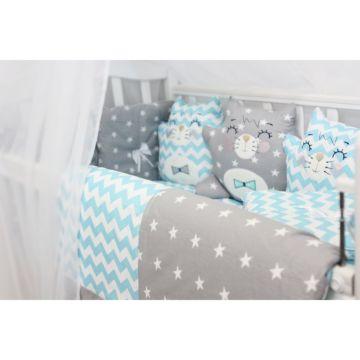 Комплект белья с бортиками-игрушками by Twinz (13 предметов, бязь) Котики голубые