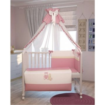 Комплект постельного белья Polini Мишки 120х60см (7 предметов, хлопок) (розовый)