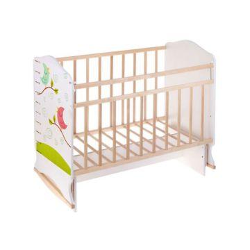 Кроватка детская ВДК Морозко (колесо-качалка/поперечный маятник) (птички)