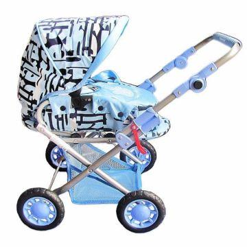 Коляска для куклы Wakart Магда (черно-голубая)