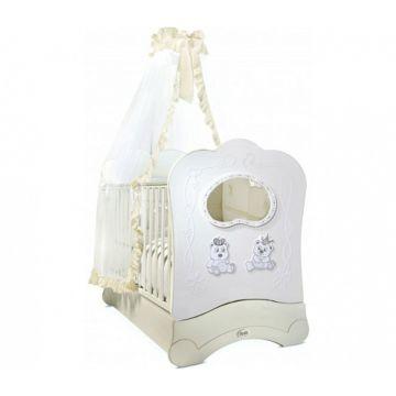 Кроватка детская Feretti FMS Majesty Brilliante (продольный маятник) (белая)