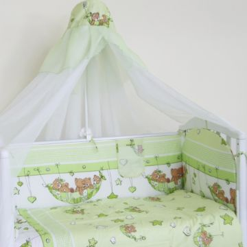Комплект постельного белья Happy Dreams Мишки в гамаке 120х60см (7 предметов, хлопок) (зеленый)