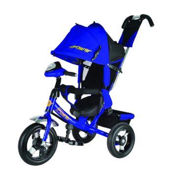 """Трехколесный велосипед Trike Power New c надувными колесами 12"""" и 10"""" с фарой (синий)"""