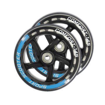 Набор колес и подшипников для самоката TechTeam 145 мм (черно-голубой)