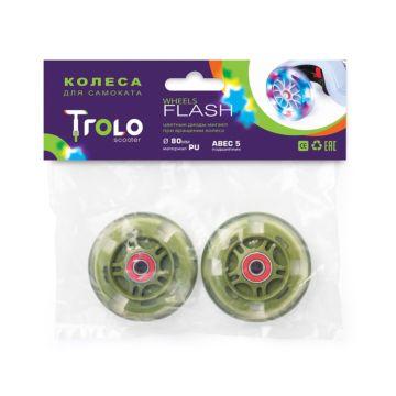 Колеса светящиеся для самоката Trolo 80 мм (зеленый)