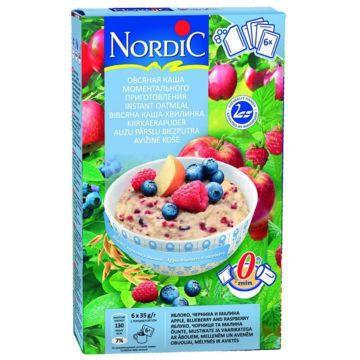 Каша овсяная Nordic моментального приготовления с яблоками, черникой, малиной 210 г