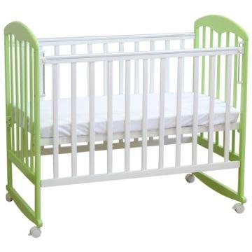 Кроватка детская Фея 323 светлая (качалка-колесо) (Белый-мята)
